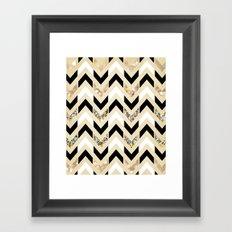 Black, White & Gold Glitter Herringbone Chevron on Nude Cream Framed Art Print