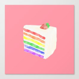 Watercolor Rainbow Cake Canvas Print