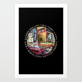 Times Square New York City (badge emblem on black) Art Print