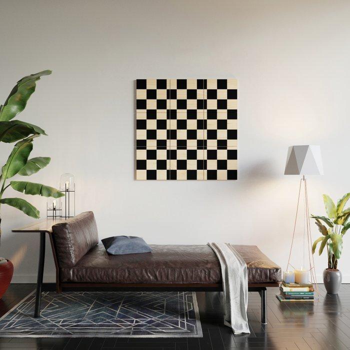 black white checker checkerboard checkers wood wall art by