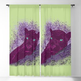 Panther on a branch - Green Blackout Curtain