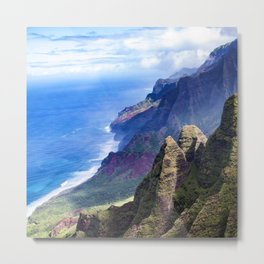 Hawaiian Coastal Cliffs: Aerial View From The Angels Metal Print