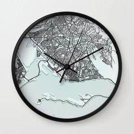 Kingston, Jamaica, White, City, Map Wall Clock