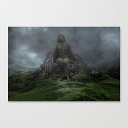 Giant Goddess Statue on a Green Hilly Landscape Canvas Print
