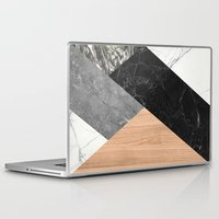 Laptop Skins featuring Marble and Wood Abstract by Santo Sagese