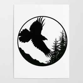 Raven & Forest circular silhouette Poster
