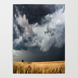 Cotton Candy - Storm Clouds Over Wheat Field in Kansas Poster