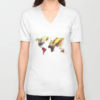 new order V-neck T-shirts featuring World Map new order by jbjart