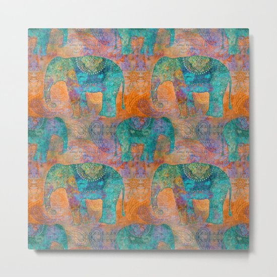 Elephant Pattern allover orange turquoise Metal Print