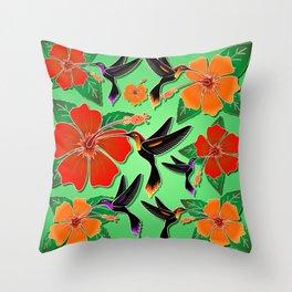 Hummingbird and Hibiscus Batik Pattern Throw Pillow