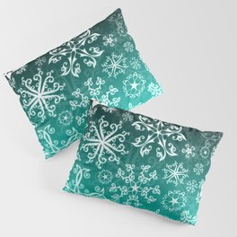 Symbols in Snowflakes on Winter Green Pillow Sham