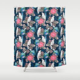 Tropical birds. Blue pattern Shower Curtain