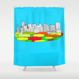 Skyscrapers in the trees Shower Curtain