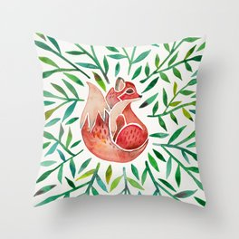 Woodland Fox – Green Leaves Throw Pillow