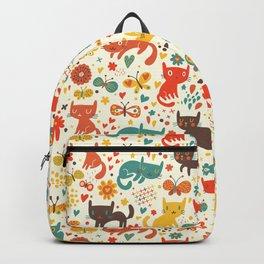 Cat Catching Butterflies in the Garden Backpack