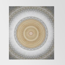 Gold white White and Silver Marble Throw Blanket