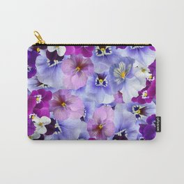 PURPLE-WHITE-PINK PANSY FLOWERS & BLACK Art Carry-All Pouch