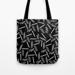 Black white retro geometrical 80's abstract pattern Tote Bag