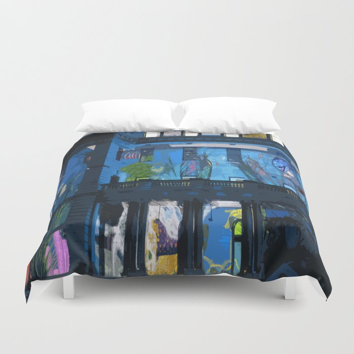 Fish in the Clocktower Duvet Cover