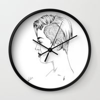 miley cyrus Wall Clocks featuring Miley Cyrus by Kfort