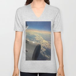 Sun And Clouds From Plane Unisex V-Neck