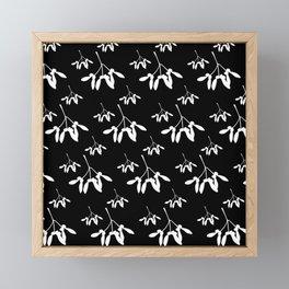 Christmas Mistletoe in White on Black Framed Mini Art Print