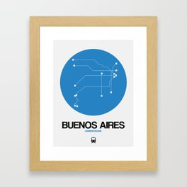 Buenos Aires Blue Subway Map Framed Art Print