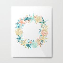 Coastal / Sea Wreath Art-Coral, Aqua, Gold Metal Print