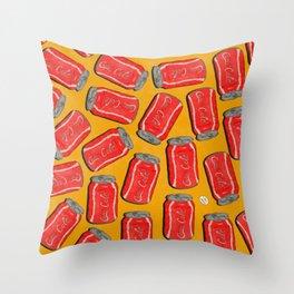 Lotta Cans! (Yellow Bg) Throw Pillow