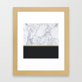 MARBLE GOLD BLACK Framed Art Print