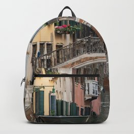 Canals of Venice with Gondola, Classic Italy Travel Photograph, Colorful Venice Canals Backpack