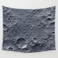 apollo Wall Tapestries featuring Moon Surface by Space99