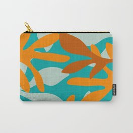 Seychelles Garden Botanical Abstract in Rust, Orange, Aqua, and Turquoise Carry-All Pouch