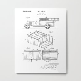 Fire Truck Vintage Patent Hand Drawing Metal Print