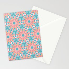 Colorful islamic pattern pink and blue Stationery Cards