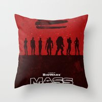 mass effect Throw Pillows featuring Mass Effect 1 by Bill Pyle
