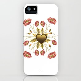 Poppies Embroidery Faux Gold Heart iPhone Case