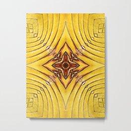 Golden Palm Frond Mandala Metal Print