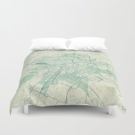 Dijon Map Blue Vintage Duvet Cover