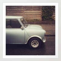 mini cooper Art Prints featuring Mini Cooper by Marieken