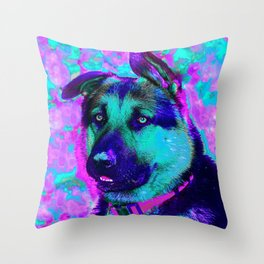 Artistic Dog Expression Throw Pillow