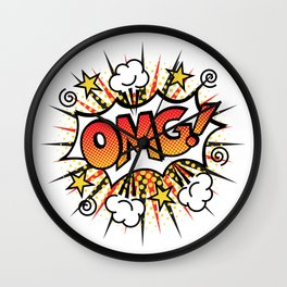Pop Art OMG! Text Design Wall Clock