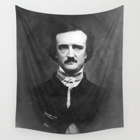 edgar allan poe Wall Tapestries featuring Edgar Allan Poe Portrait  by All Surfaces Design