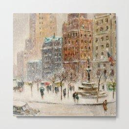 Winter at the Plaza, New York City landscape by Guy Carleton Wiggins Metal Print