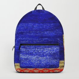 V24 New Blue Calm Traditional Moroccan Carpet Texture. Backpack