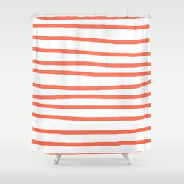 Simply Drawn Stripes in Deep Coral Shower Curtain