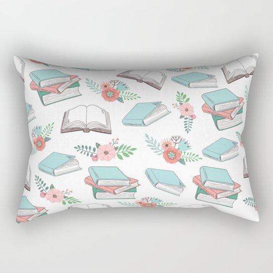Books & Flowers Print Rectangular Pillow