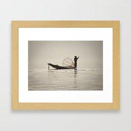 Fisherman at Inle Lake Framed Art Print
