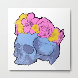 Cute Blue Skull with Pink and Yellow Flower Crown Metal Print
