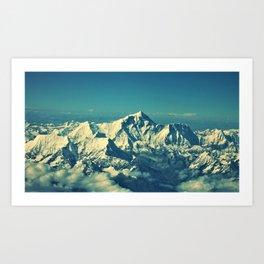 Mount Everest and surrounding mountain range Art Print